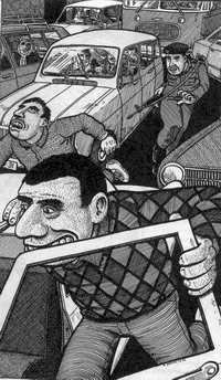 Palestinos huyendo de un soldado  israelí en medio del tráfico (ComicVia.com)