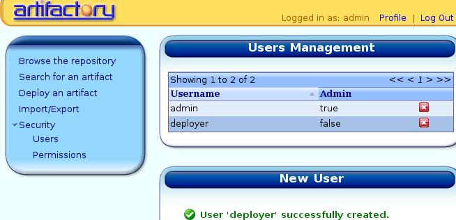 Administración de usuarios con artifactory
