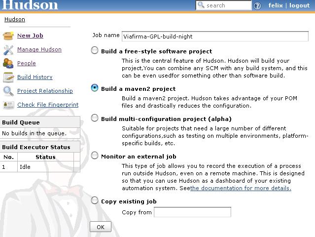 Paso 1. Crear Un nuero proyecto (Job) en Hudson