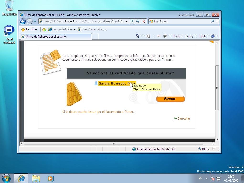 Certificado digital de la fnmt encontrado con Viafirma y firmando