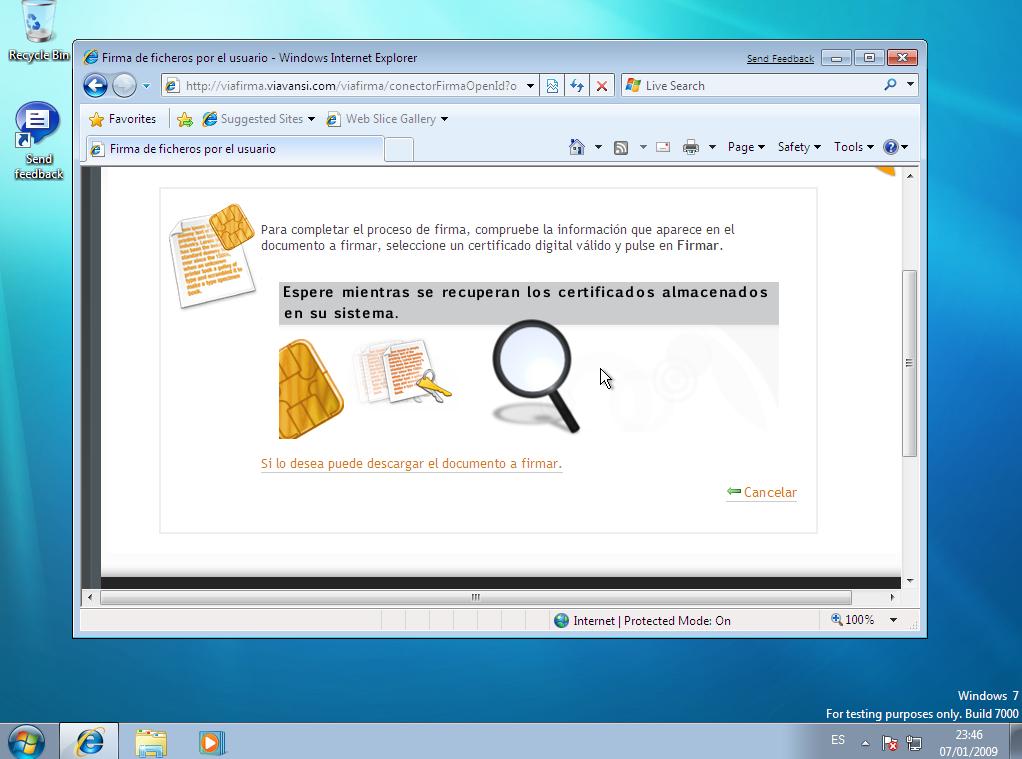 Buscando certificados digitales instalados en el sistema
