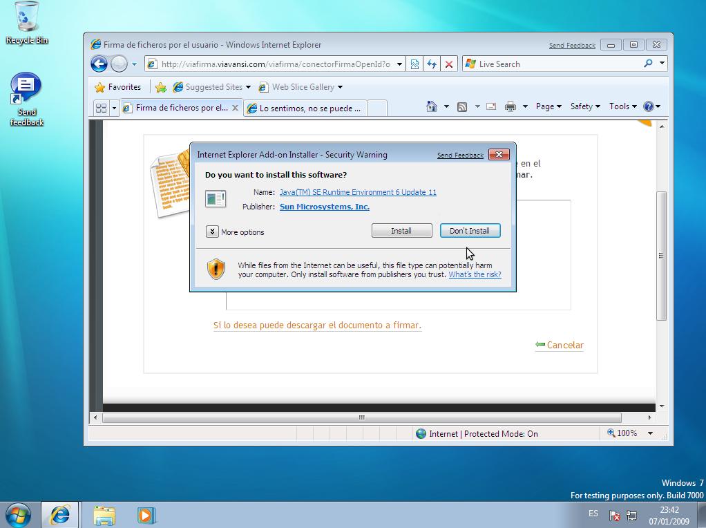 Detección de componentes para firma Digital con Viafirma en Windows 7