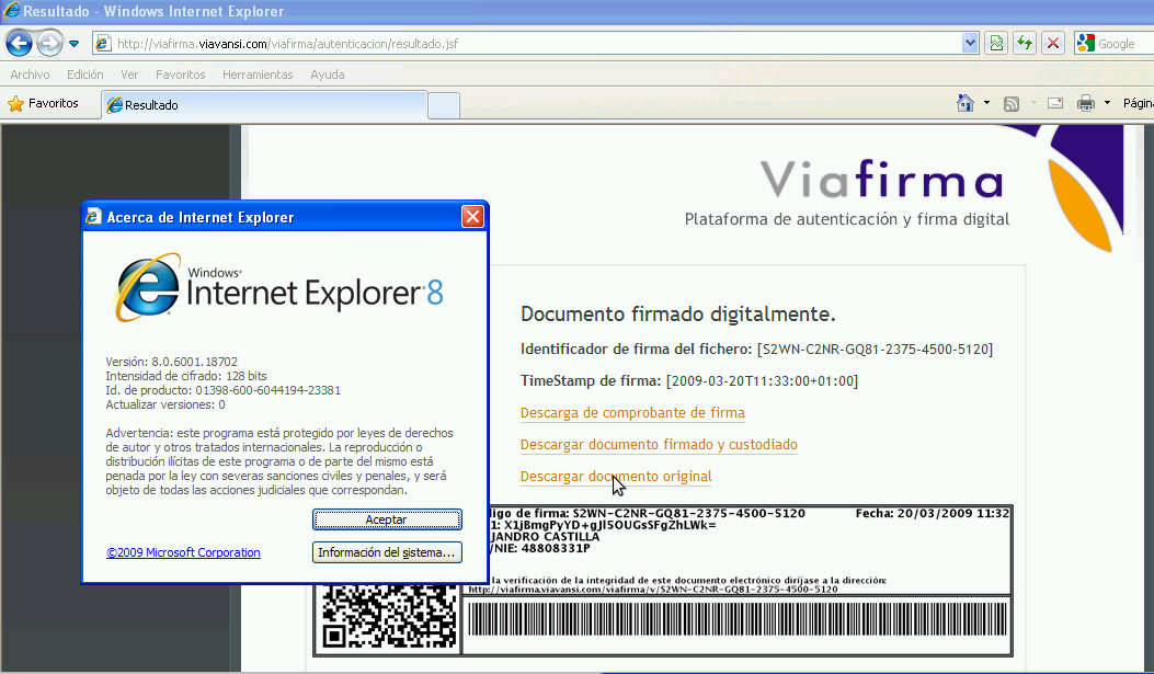 Viafirma firmando en IE8