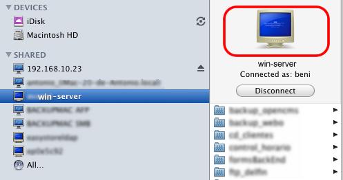 Imagen mostrada cuando conecta a un sistema windows