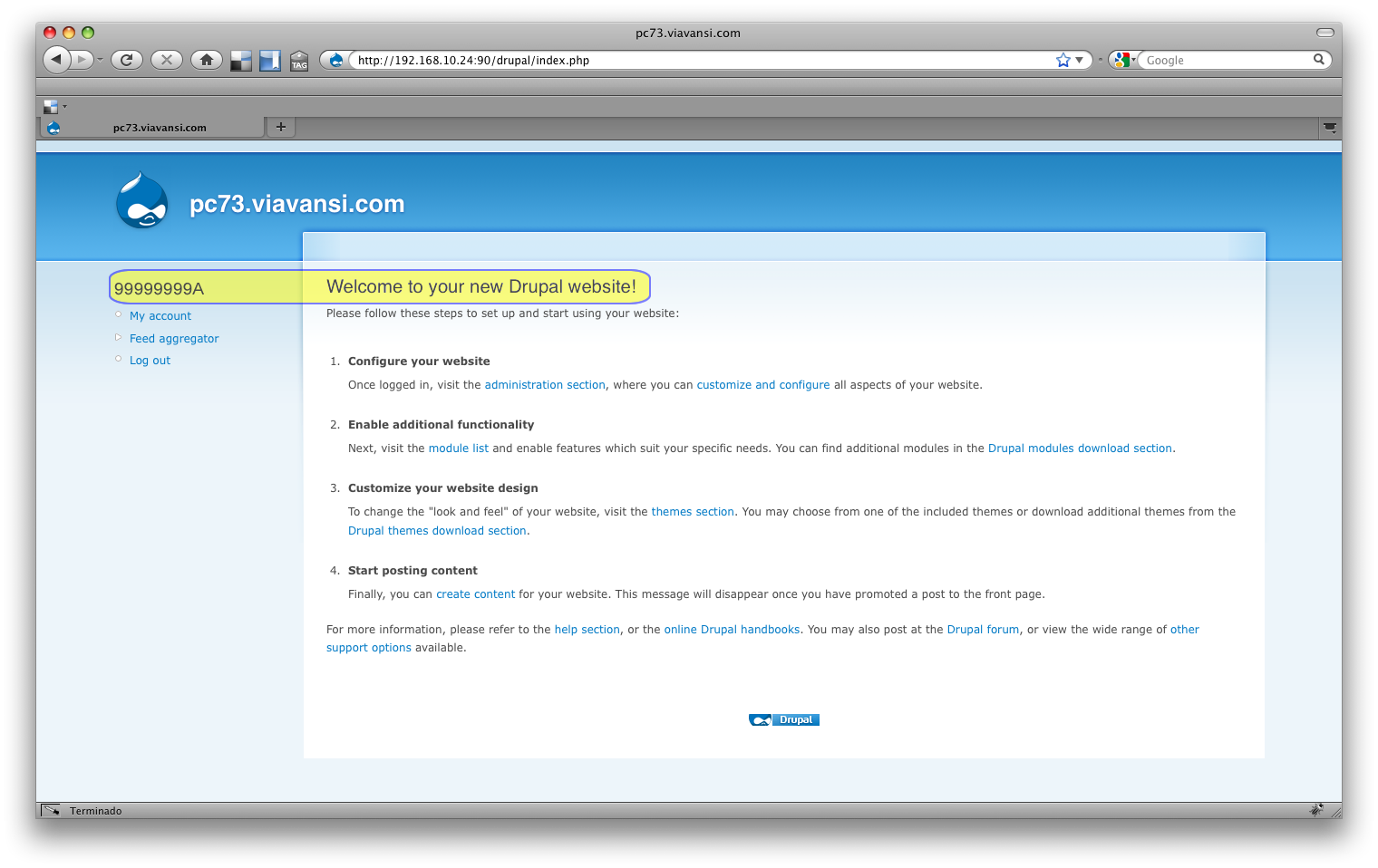 captura mensaje de bienvenida a Drupal