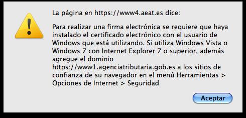 Error firma electrónica con AEAT