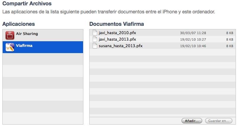 Transferencia de Ficheros en iTunes
