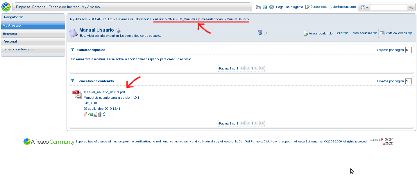 Pantalla Alfresco: Documento persistido desde Redmine.