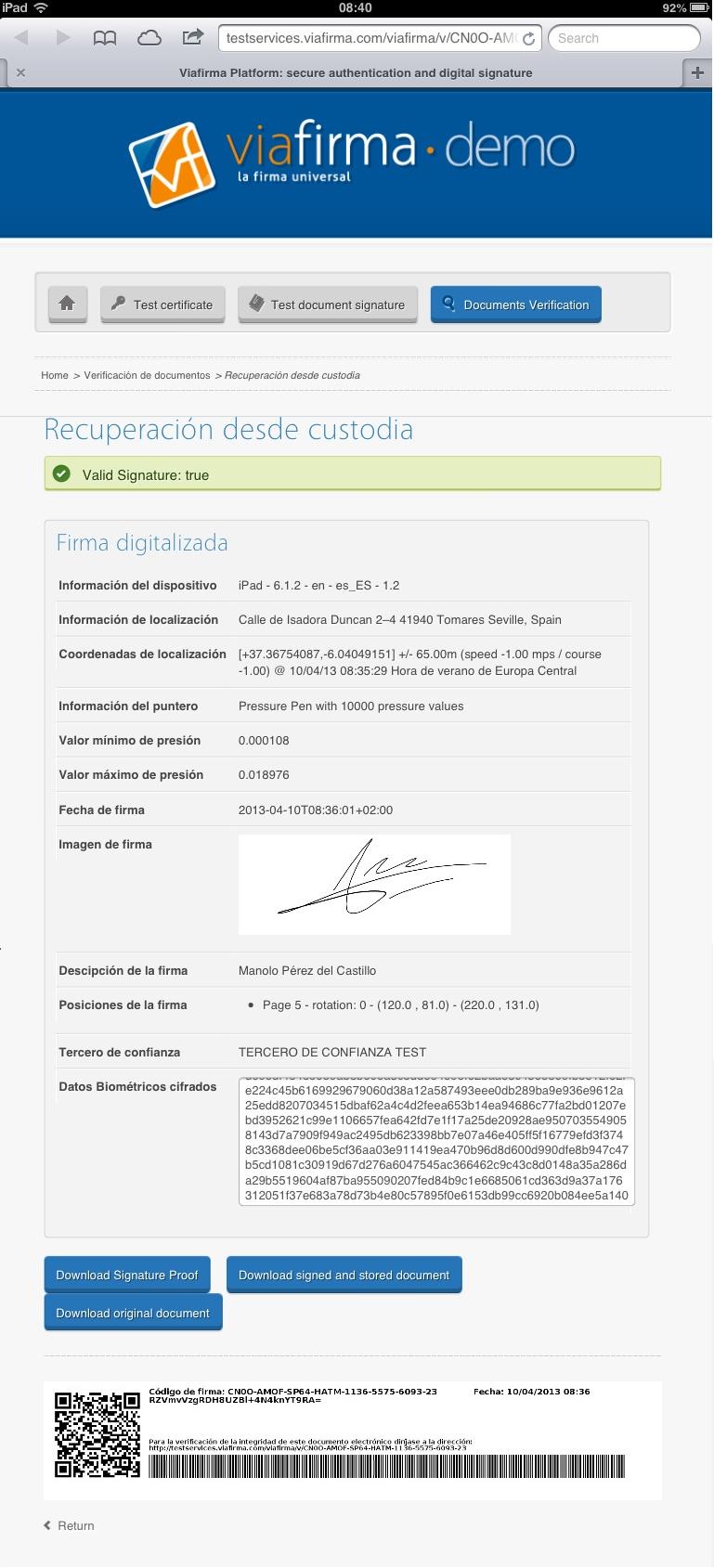 Verificación de la firma digitalizada