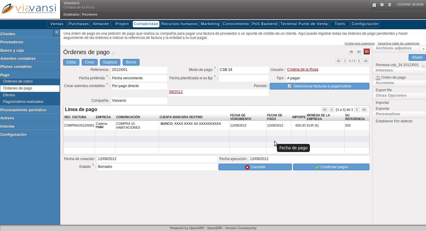 OpenERP, órdenes de pago