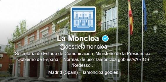 Twitter oficial de la moncloa