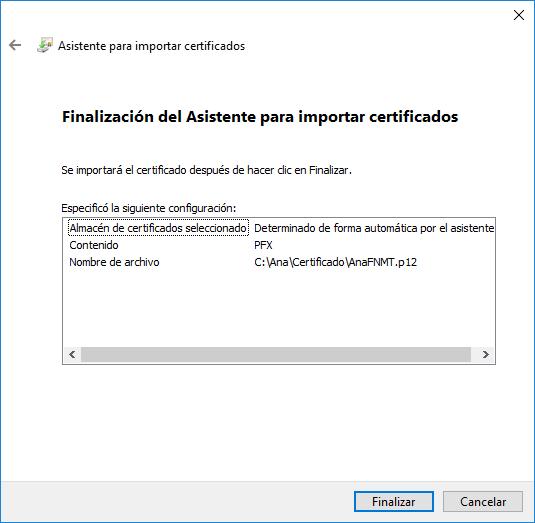 Finalización asistente certificado digital Windows