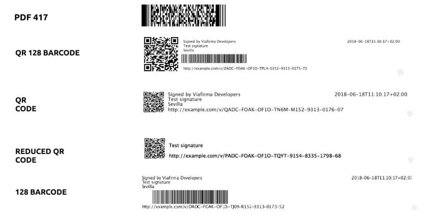 Barcode types supported by Viafirma