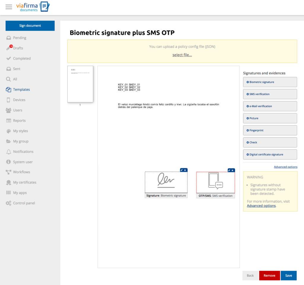 Snapshot of Viafirma Documents biometric signature and OTP