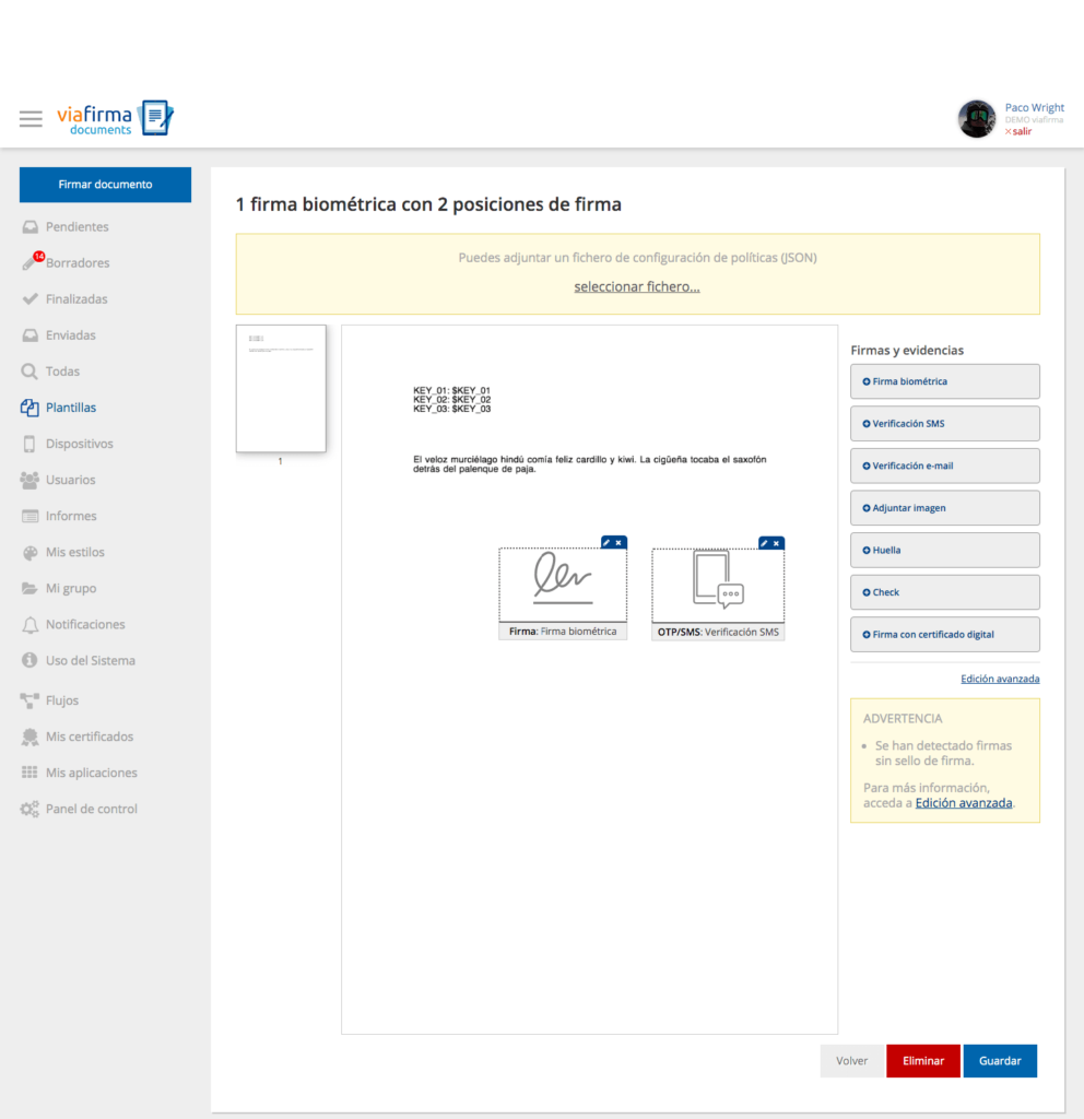 Firma biométrica y OTP SMS en un documento