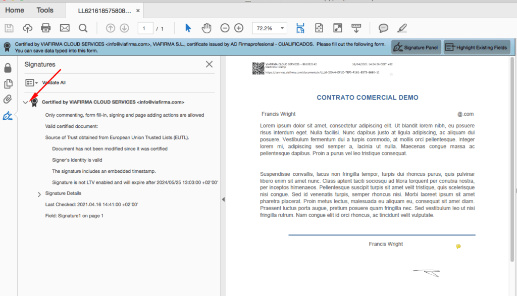 Contract signed with digital certificate