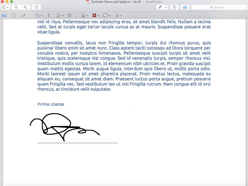 Firma digital realizada con trackpad en el documento