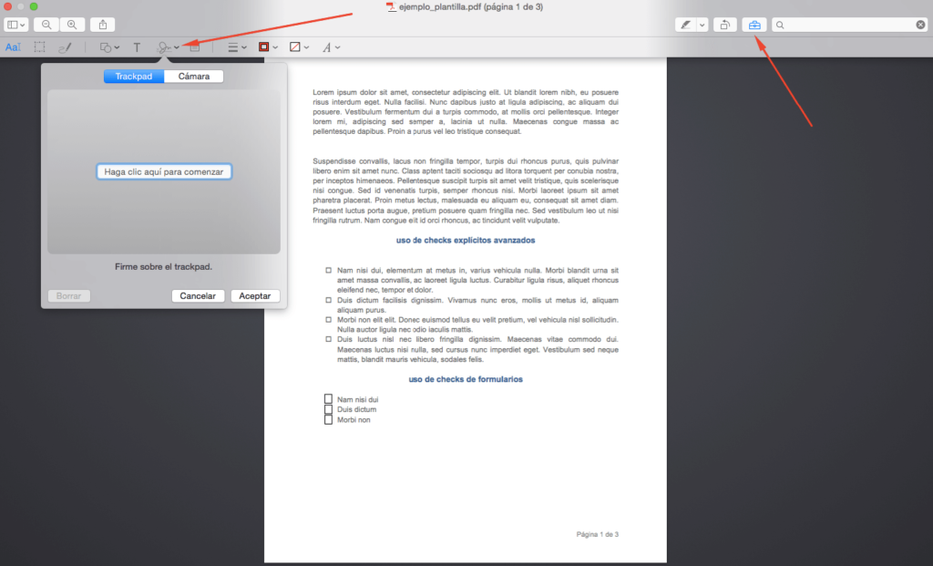 Captura de firma digital con trackpad de Mac