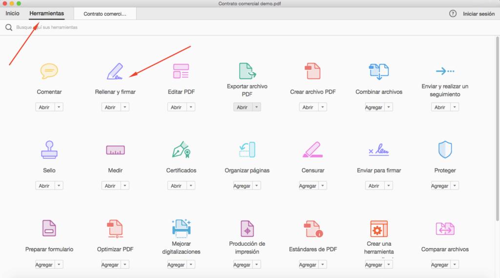 Captura de las herramientas de Adobe Acrobat