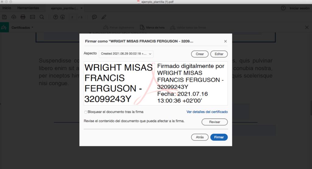 Captura para elegir y firmar PDF con certificado