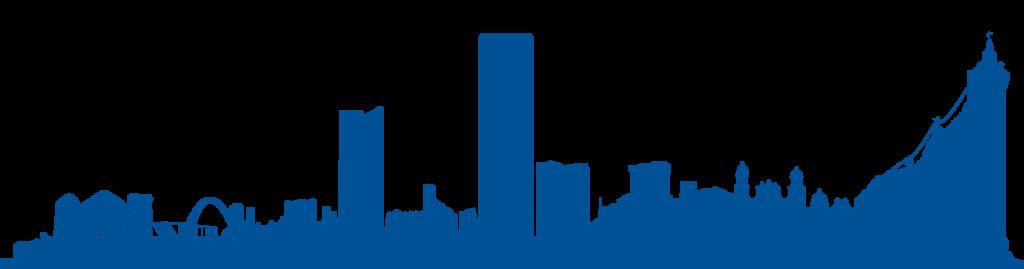 Skyline de la ciudad de Bogotá en azul