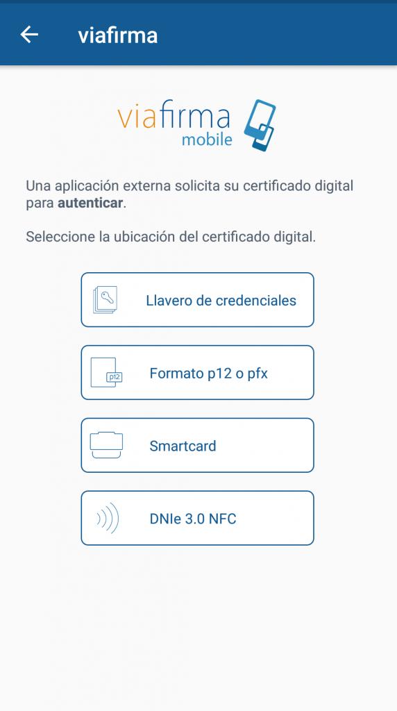 Aplicación de Viafirma para instalar el certificado