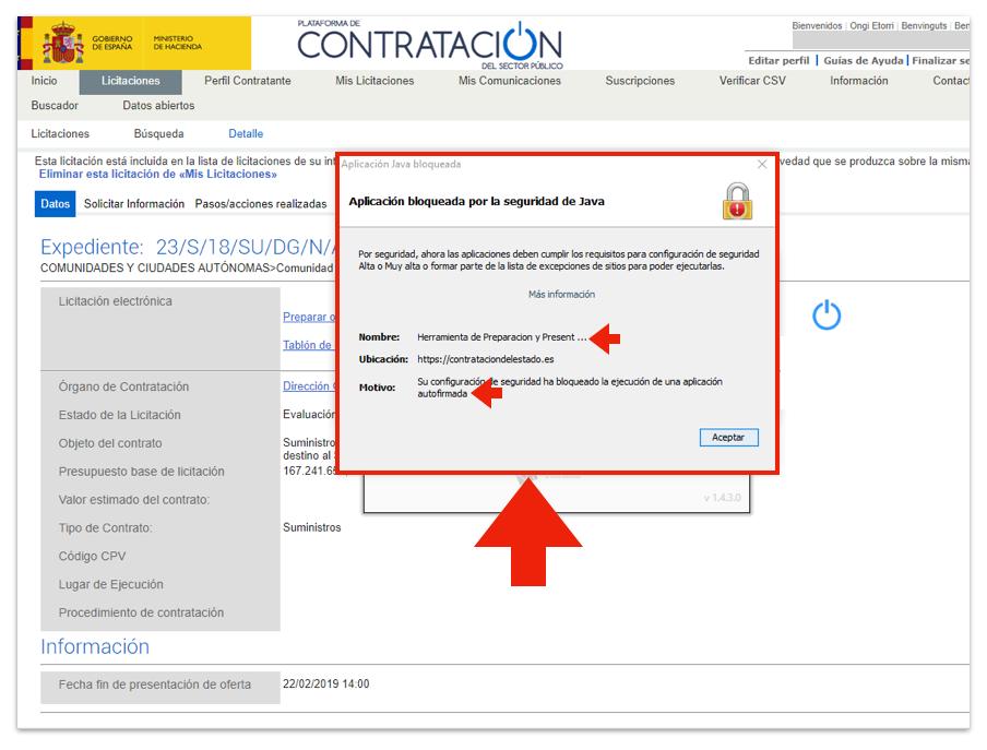 Captura de mensaje al utilizar certificado en Hacienda