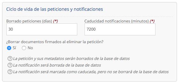 Configuración ciclo de vida peticiones y notificaciones