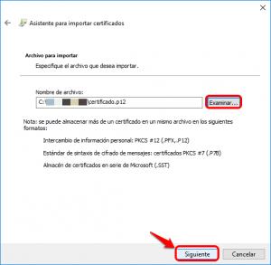 Examinar el archivo para buscar el certificado