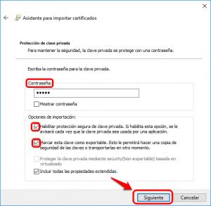 Introduce una contraseña para el certificado