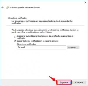 Click en siguiente para situar el certificado