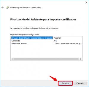 Finalizar asistente para importar certificado
