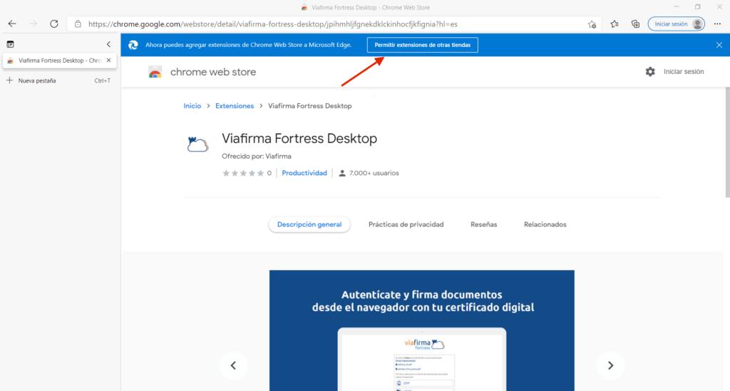 Captura de Microsoft Edge accediendo a la Chrome Web Store