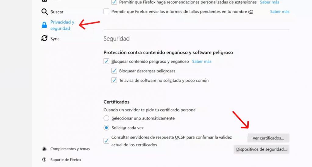 Captura de los pasos para instalar certificado