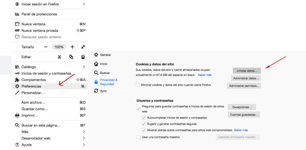 Instrucciones para borrar caché en Mozilla Firefox