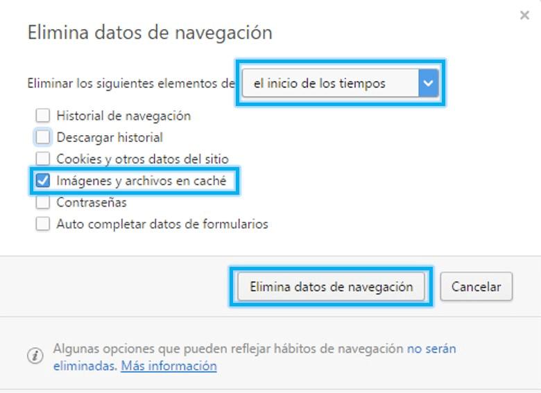 Pasos para eliminar caché en Microsoft Edge
