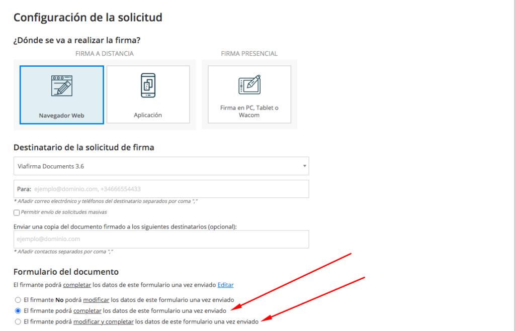 Captura de la configuración de la solicitud