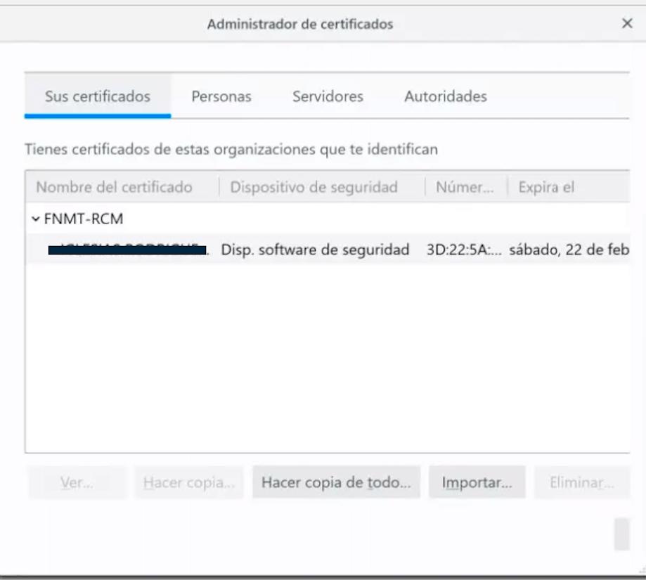 Certificado digital instalado en Mozilla Firefox