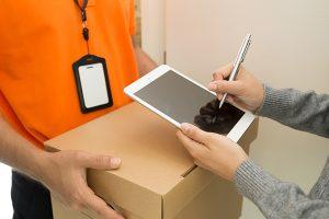 Firma biométrica recogida en la entrega de un paquete
